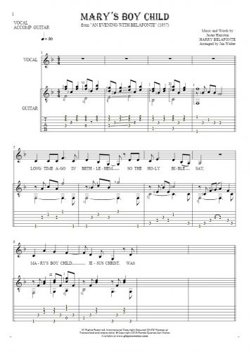 Mary's Boy Child - Notes, tablature and lyrics for vocal with guitar accompaniment
