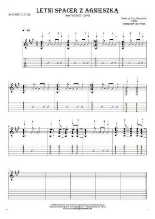 Letni spacer z Agnieszką - Noten und Tabulatur für Gitarre - Begleitung