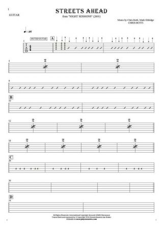 Streets Ahead - Tablature for guitar