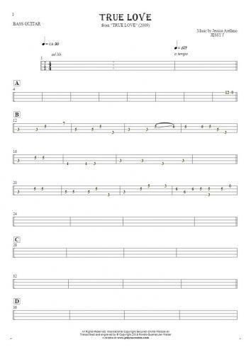 True Love - Tablature for bass guitar