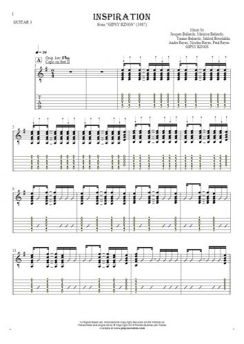 Inspiration - Notes (in transposing) and tablature for guitar - guitar 3 part