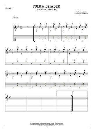 Polka Dziadek (Klarinettenmuckl) - Notes and tablature for guitar - guitar 2 part