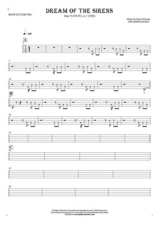 Dream Of The Sirens - Tablature (rhythm values) for bass guitar (5-str.)