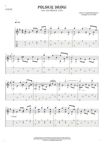 Polskie drogi - Notes and tablature for guitar solo (fingerstyle)