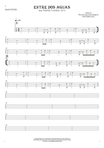 Entre dos aguas - Tablature (rhythm values) for bass guitar