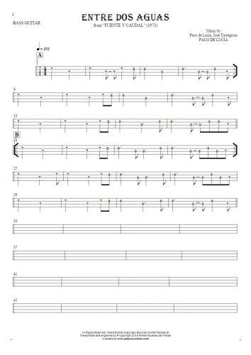 Entre dos aguas - Tabulatura (wartości rytmiczne) na gitarę basową