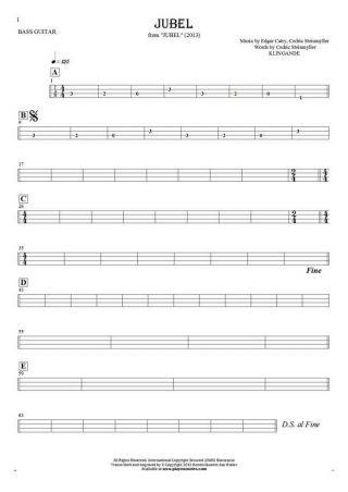 Jubel - Tabulatur für Bassgitarre