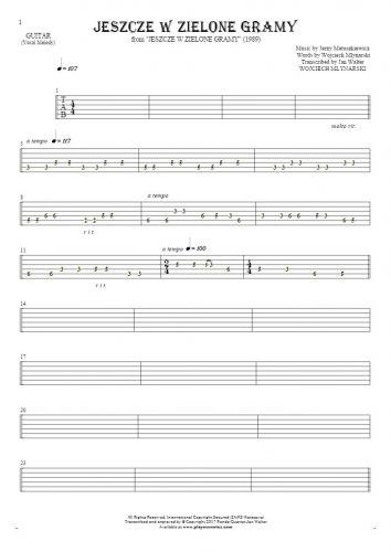 Jeszcze w zielone gramy - Tabulatur für Gitarre - Melodielinie