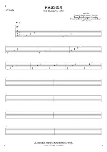 Passion - Tablature for guitar - guitar 2 part