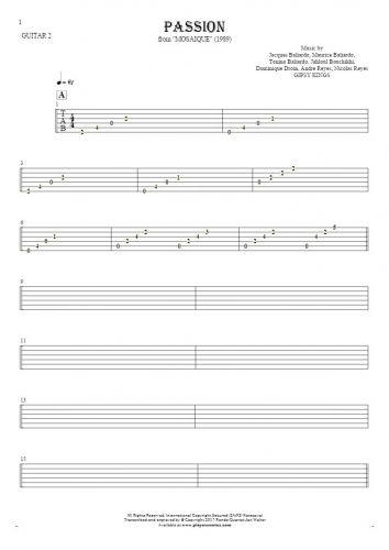 Passion - Tablature for guitar - guitar 2 part