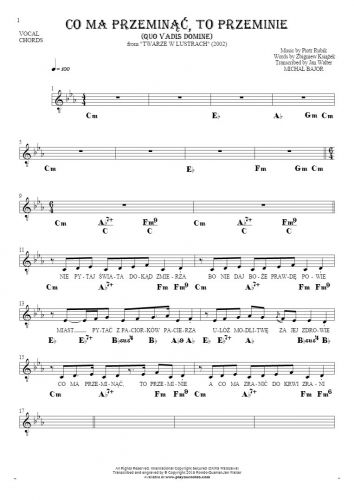 Co ma przeminąć, to przeminie (Quo Vadis Domine) - Notes, lyrics and chords for vocal with accompaniment
