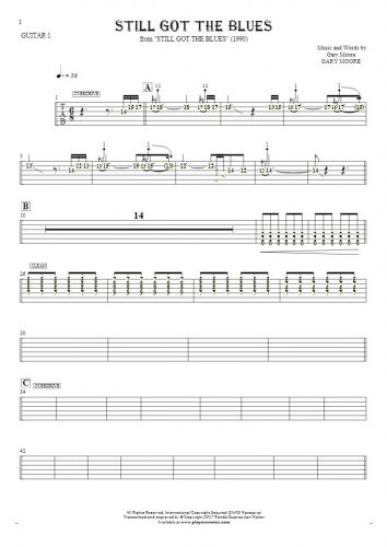 Still Got The Blues - Tablature (rhythm. values) for guitar - guitar 1 part