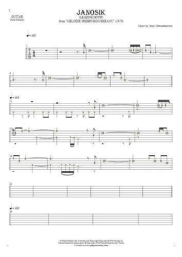 Janosik - Leading Motif - Tablature (rhythm. values) for guitar - melody line