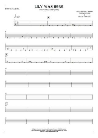 Lily Was Here - Tablature for bass guitar (5-str.)