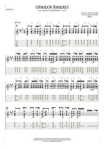 Smile of Death - Notes and tablature for guitar - guitar 2 part