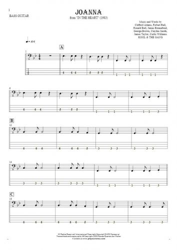 Joanna - Notes and tablature for bass guitar