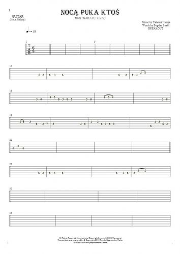 Somebody's Knocking At The Door At Nigh - Tablature for guitar - melody line