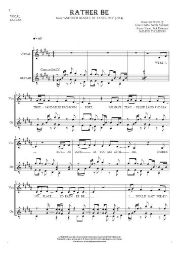 Rather Be - Notes and lyrics for vocal and guitar