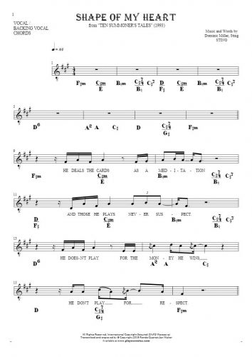 Shape Of My Heart - Notes, lyrics and chords for vocal with accompaniment