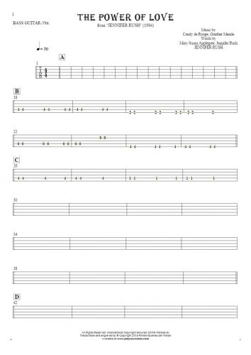 The Power Of Love - Tablature for bass guitar (5-str.)