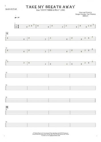 Take My Breath Away - Tablature for bass guitar