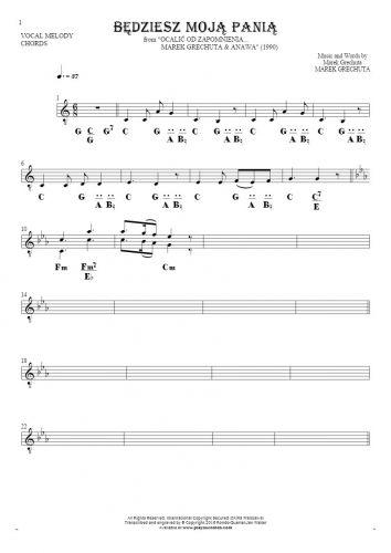 Będziesz moją panią - Noten und Akkorde für Solo Stimme mit Begleitung
