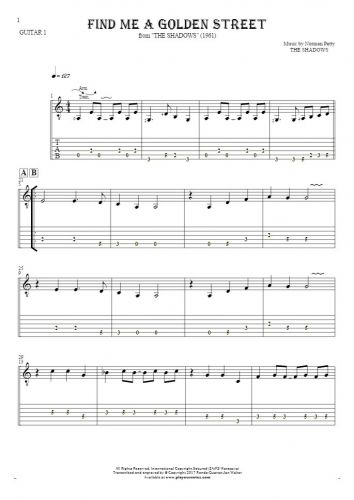 Find Me A Golden Street - Notes and tablature for guitar - guitar 1 part