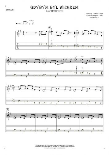 If I Were the Wind - Notes and tablature for guitar - guitar 1 part