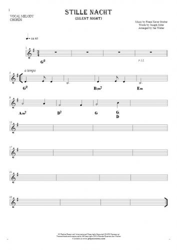 Silent Night - Notes and chords for solo voice with accompaniment