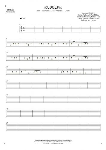 Rudolph - Tablature for guitar - melody line