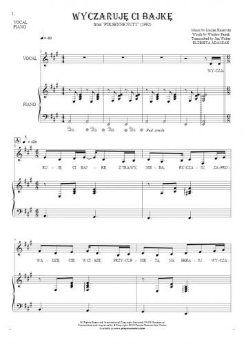 Wyczaruję ci bajkę - Notes and lyrics for vocal and piano