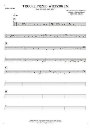 Trochę przed wieczorem - Tablature for bass guitar