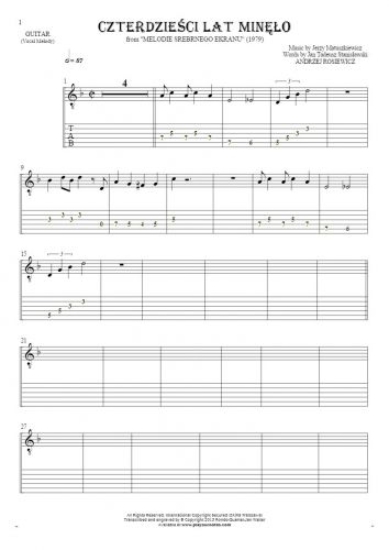 Czterdzieści Lat Minęło - Notes and tablature for guitar - melody line