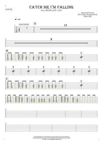 Catch Me I'm Falling - Tablature (rhythm. values) for guitar