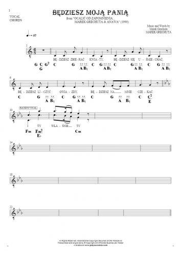 Będziesz moją panią - Nuty, tekst i akordy na wokal z akompaniamentem