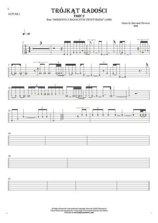 Trójkąt radości - Tablature (rhythm values) for guitar - guitar 1 part