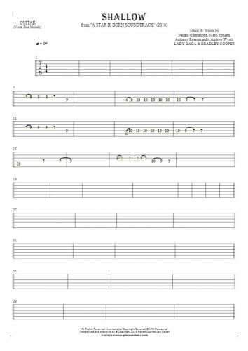 Shallow - Tablature for guitar - melody line