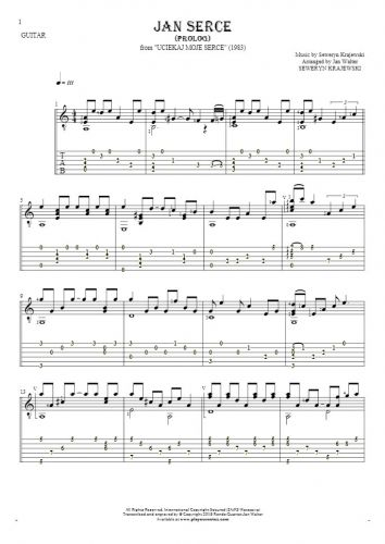 Jan Serce - Prolog - Notes and tablature for guitar solo (fingerstyle)