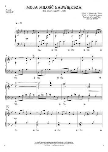 Moja miłość największa - Notes for piano - accompaniment