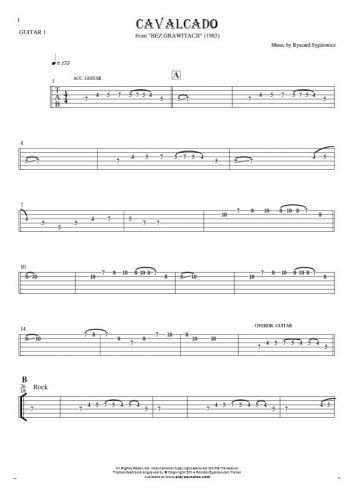 Cavalcado - Tablature for guitar - guitar 1 part