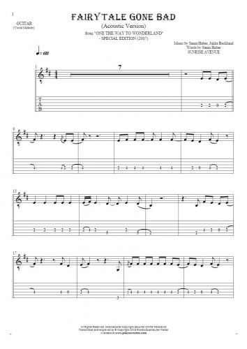 Fairytale Gone Bad (Acoustic Version) - Notes and tablature for guitar - melody line