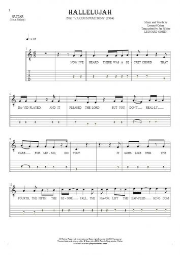 Hallelujah - Notes, tablature and lyrics for guitar - melody line