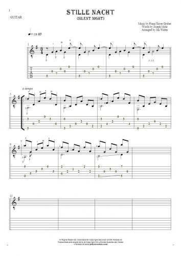 Silent Night - Notes and tablature for guitar solo (fingerstyle)
