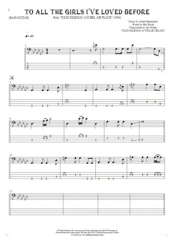 To All The Girls I've Loved Before - Notes and tablature for bass guitar