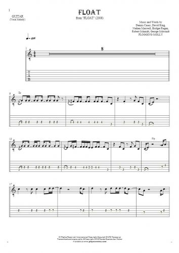 Float - Notes and tablature for guitar - melody line