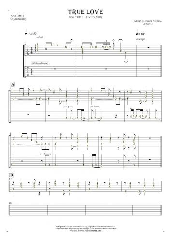 True Love - Tablature (rhythm values) for guitar