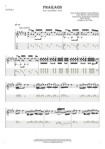 Pharaon - Notes and tablature for guitar - guitar 1 part