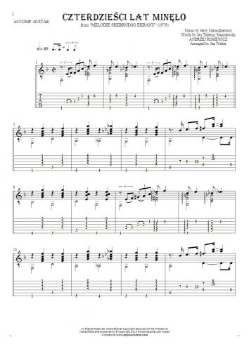 Czterdzieści Lat Minęło - Notes and tablature for guitar - accompaniment
