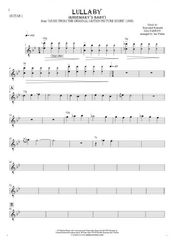 Lullaby - Rosemary's Baby - Notes for guitar