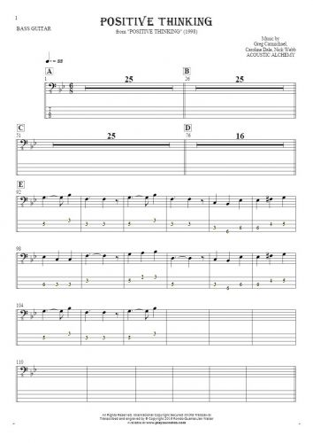 Positive Thinking - Notes and tablature for bass guitar